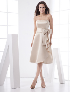 Classic Strapless Sash Bow Tea Length Satin Bridesmaid Dress
