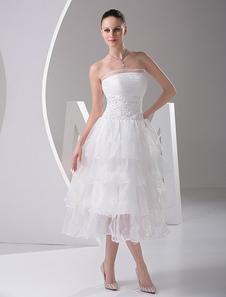 Robe de mariée fabuleuse A-ligne en satin blanc avec perles bustier longueur mollet