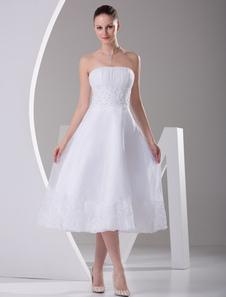 Robe de mariée A-ligne en satin blanc paillettes bustier