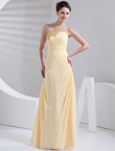 Falda de baile amarilla de gasa con un solo hombro estilo trompeta/sirena de cola barrida