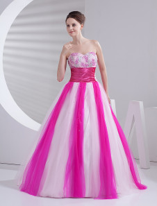 Elegant Ball Gown Pink Tulle Quinceanera Dress