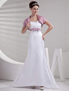 Белые линии бретелек сатин короткий дамы свадебное платье