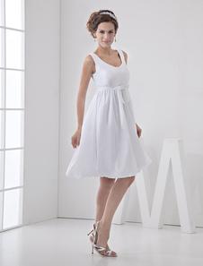 Image of Abito da sposa bianco taffeta con collo rotondo vita alta stile