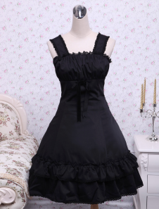 Gothic Black Ruffles Cotton Lolita Dress