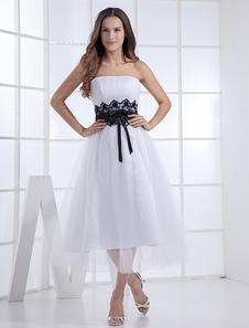 Chic robe mariage A-ligne blanc avec ceinture bustier longueur mollet
