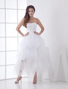 Chic robe mariage A-ligne en satin blanc multicouche
