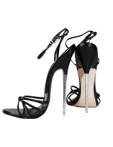 6 1/4'' High Heel Black Patent Ankle Straped Sandal