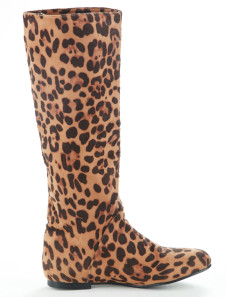 Leopard Flat Cloth Womens Knee Length Boots