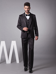 Attractive Black Single Breasted Button Worsted Groom Wedding Tuxedo