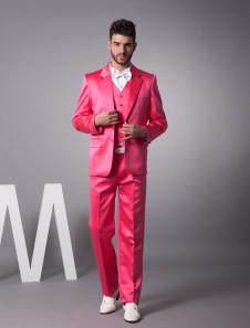 Unique Fuchsia Single Breasted Button Satin Groom Wedding Tuxedo