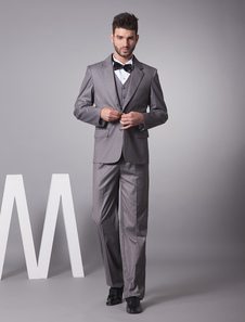 Handsome Gray Single Breasted Button Lapel Serge Groom Wedding Tuxedo