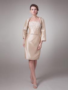 Image of Abito per la madre della sposa champagne attillato in taffettà ricamato al ginocchio Abiti per Ospiti di Matrimonio