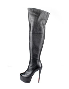 Sexy Black Cow Leather High Heel Womens Knee High Boots