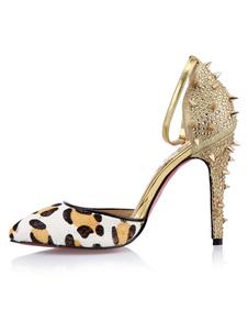 Sandali alla moda multicolori con stampa di leopardo sexy con tacco da 11cm