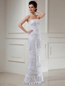Белый фантастический сатин бретелек Русалка слово труба длиной свадебное платье