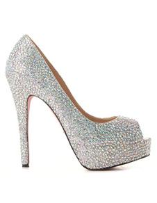 Chaussures à talons aiguilles sexy peep-toe avec rhinestones