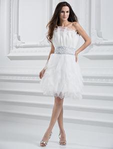 Image of Vestito da sposa bianco tulle senza spalline a-linea al ginocchi