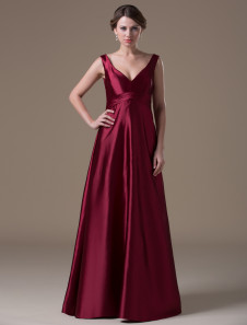 burgundy-hot-spandex-satin-floor-length-maternity-bridesmaid-dress
