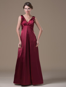 maternity-bridesmaid-dress-a-line-burgundy-satin-v-neck-high-waist-maxi-party-dress