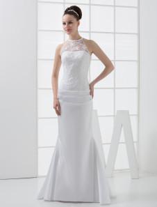 Элегантные Русалка труба бисером атласные кружева свадебное платье