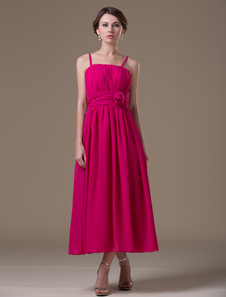 maternity-bridesmaid-dress-hot-pink-a-line-spaghetti-straps-flower-chiffon-tea-length-party-dress
