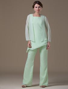 Vêtement mère de mariés en chiffon vert clair