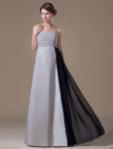 Aline Silver Chiffon Maternity Bridesmaid Dress with Empire Waist