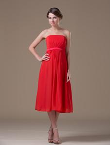 estilo elegante de gasa y de satén elástico de color rojo sin tirantes de línea A hasta la pantorrilla