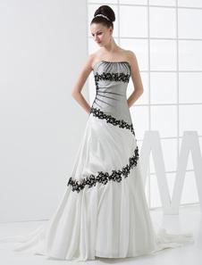 Image of Abbigliamento da sposa bianco satin senza spalline vestito da ba