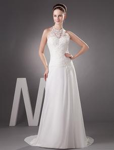 Image of Abito da sposa bianco affascinante in chiffon con collo arrotond