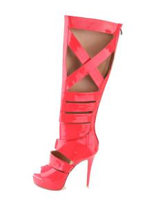 Red Cut Out Zipper PU Womans Knee Length Boots