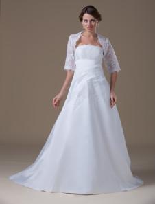 Robes de mariée blanche en taffetas bretelles robe de mariée en dentelle brodée robe de mariée train plissée avec une veste haut