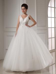 white-ball-gown-beading-tulle-bridal-wedding-dress