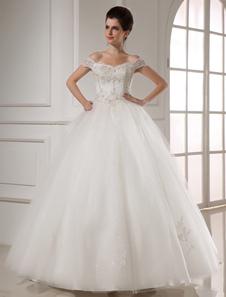Vestido de novia blanco de tul con bordados y apliques