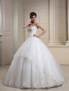 Белый возлюбленной бисером тюль свадебное платье для невесты