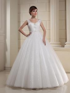 Vestido de novia blanco de tul con lentejuelas y bordados