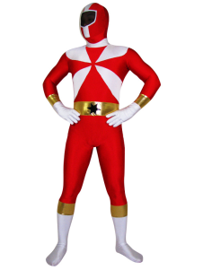 Red With White Lycra Spandex Zentai Costume