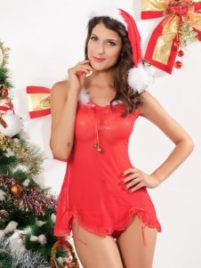 Beautiful Red Acrylic Spandex Christmas Hat And Dress