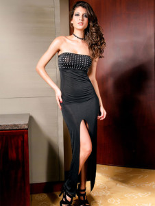 Glamorous Black Strapless Acrylic Rhinestone Womens Club Dress