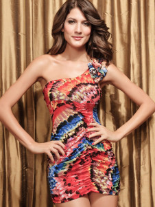 Tie Dye OneShoulder Acrylic Womans Club Dress