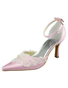 4 12 High Heel Pink Lace Applique Satin Platform Wedding Shoes
