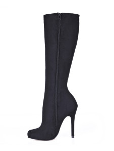 Black Stiletto Heel Knee Length Stretch Faux Suede Womens Boots