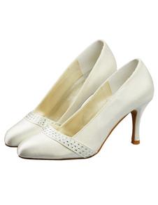 Ivory Round Toe Stiletto Heel Satin Bridal Wedding Shoes