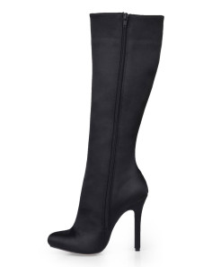 Black Almond Toe Imitated Silk Womans Knee Length Boots