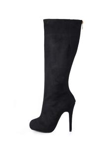 Black Platform Zip Nubuck Womens Knee Length Boots