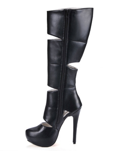 Black Spike Heel Cut Out PU Leather Womans Knee Length Boots