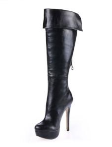 Black Spike Heel Zipper PU Leather Womans Knee Length Boots