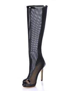 Black Spike Heel Zipper Patent Leather Knee Length Boots for Women