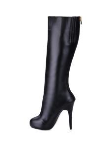Black Stiletto Almond Toe Zip PU Womens Knee Length Boots