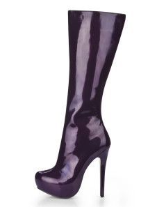 Deep Purple Almond Toe PU Womans Knee Length Boots